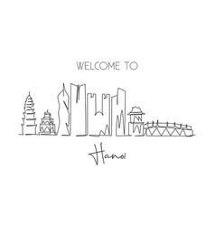One single line drawing hanoi city skyline vector