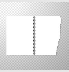 opened notebook template with blank page torn vector image