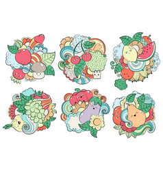 Pattern with fruits vegetables and berries vector