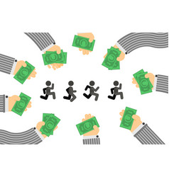 People investor chase cartoon vector