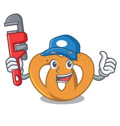 Plumber pretzel mascot cartoon style vector