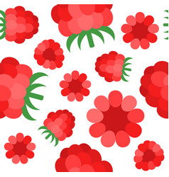 raspberries seamless pattern flat design for vector image