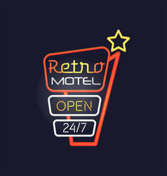 Retro motel open 24 7 neon sign vintage bright vector