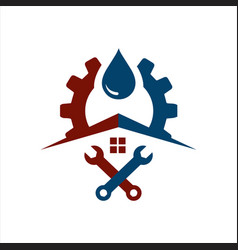 sanitary logo symbol icon pipe and drop water vector image