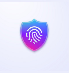 Security shield icon fingerprint identification vector