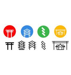 set japanese shrine icon art vector image