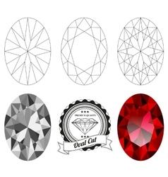 Set oval cut jewel views vector