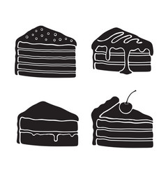 Set silhouettes piece cakes vector