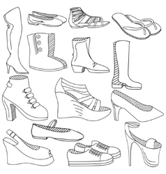 Shoes coloring book vector