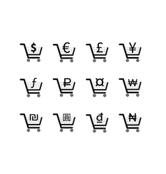 Shopping carts icons with main currency signs vector image
