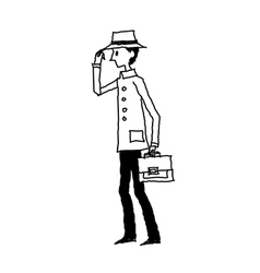 Side view of boy holding bag vector