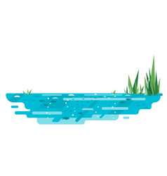 Small pond with reed in flat style vector