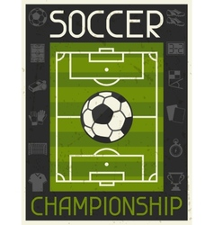 Soccer Championship Retro poster in flat design vector image