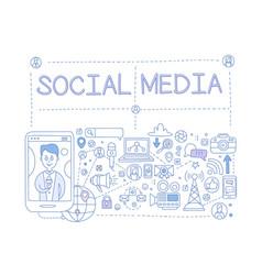social media set communication in global vector image