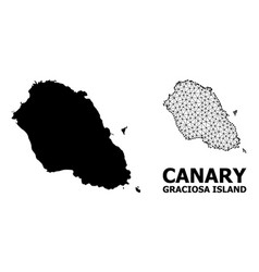 Solid and carcass map graciosa island vector