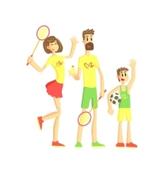 Sporty Family With Tennis Rackets And Ball vector