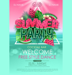 Summer disco party poster with watermelon vector