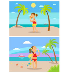 Summertime children on holidays summer beach vector
