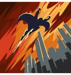 Super hero flying in the sky vector