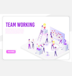 Team working landing page isometric vector