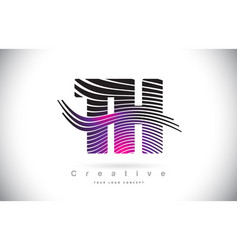 Th t h zebra texture letter logo design with vector