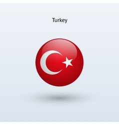 Turkey round flag vector image