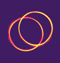 Two fire rings electric banner design neon vector