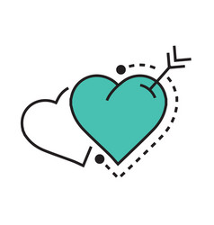 Two heart and arrow blue vector