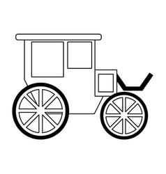 vintage carriage symbol black and white vector image