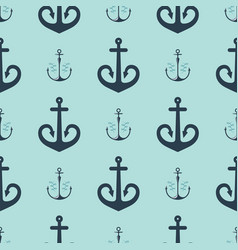 Vintage retro anchor badge seamless pattern vector