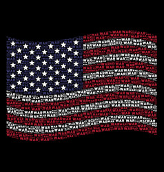waving american flag stylized composition of war vector image