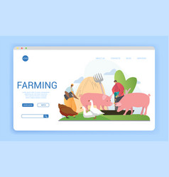 Website template for livestock farming or vector