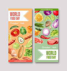 World food day flyer design with avocado onion vector