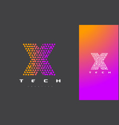 x letter logo technology connected dots letter vector image
