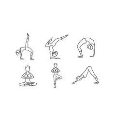 yoga asanas linear icons set women silhouettes vector image