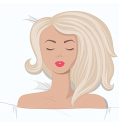 Young blonde girl is sleepping in bed vector