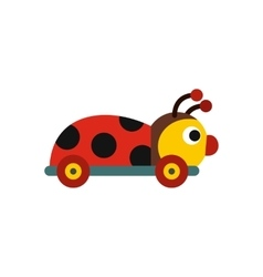 Colored ladybug toy on a wheels icon vector image