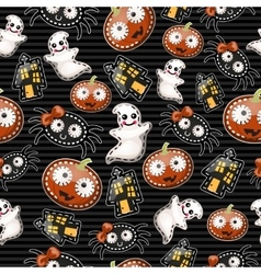 Funny background with symbols of Halloween vector image