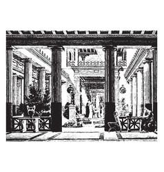 Greek house restoration vintage engraving vector