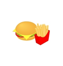 Hamburger and fries icon isometric 3d style vector image