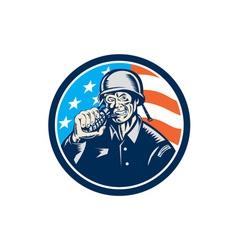 World War Two Soldier American Grenade Circle vector image vector image