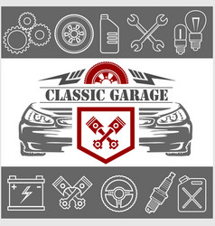 auto repair icons and service logo vector image