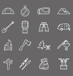 Camping equipment and travel icons set - campsite vector image vector image