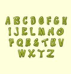 Cartoon cactus font vector