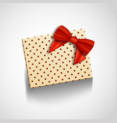 gift box with red ribbon isolated realistic vector image vector image