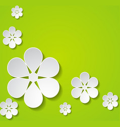 Green background with flowers vector