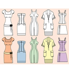 Retro Woman Design Dresses vector image