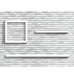 shelves on white brick wall vector image vector image