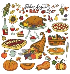 Thanksgiving dayDoodle food iconsColorful set vector image vector image