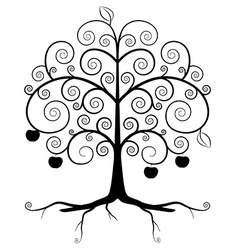 Tree Symbol - Abstract Tree Silhouette Isolated on vector image vector image